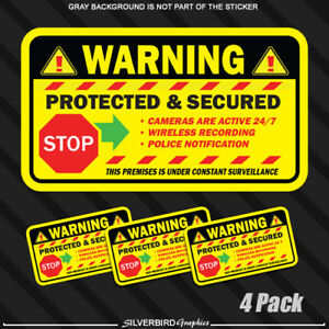 Security Camera Sticker Alarm Caution Home Protected Surveillance Warning 4 pack