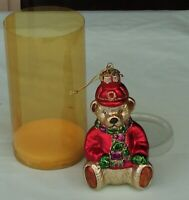 Teddy Bear Blown Glass Christmas Tree Ornament. Never used.