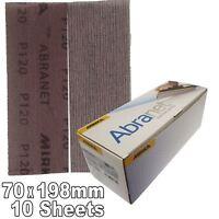 Mirka Abranet 70x198mm P120 Grit 10x HookNLoop Dust Free Sanding Abrasive Strips