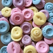 24 Edible Mixed Pastels Vintage Sugar Buttons Cake Decorations Baby Shower
