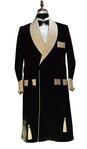 Men Black Smoking Jacket Designer Elegant Luxury Wedding Party Wear Long Coat