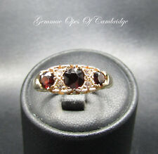 Edwardian Style Garnet and White Sapphire Ring Size Q