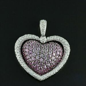 0.50Ct Pink Sapphire & Sim Diamond Double Heart Womens Pendant 14K White Gold Fn
