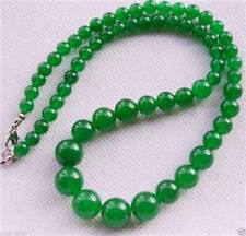 """Gemstone Tower Beads Necklace 17.5"""" Aaa New 6-14mm Natural Green Jade Round"""
