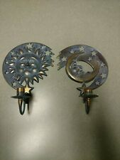 1994 Partylite Sun & Moon Metal Wall Candle Holders