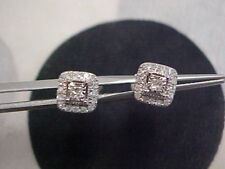 *VINTAGE STYLE*.52ctw PRINCESS CUT DIAMOND HALO STUD EARRINGS 14K WHITE GOLD WOW