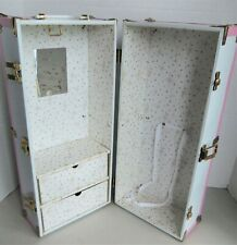 White Metal Doll Trunk Wardrobe with Pink Trim, 18 x 8 x 8 for Sasha, Gene 16""