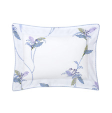 YVES DELORME FRANCE PLUMES COTTON PERCALE PILLOW SHAM IN PARROT / LEAFY BRANCH