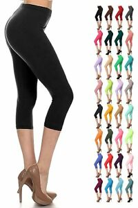 Womens 3/4 Length Cropped Leggings Capri Three Quarter Gym Fitness Workout Pants