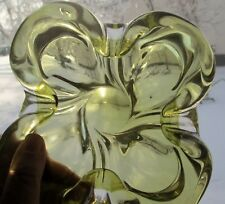 VINTAGE SIGNED CHALET ART GLASS  BOWL DISH SCULPTURE CLEAR TO YELLOW GREEN
