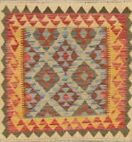 Flat-Woven Geometric 3 ft Square Turkish Kilim Rug Hand-Woven Kitchen Bathroom