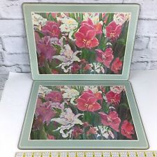 Pimpernel placemats floral abstract pale green set of 2 cork backed 11.5x15.5