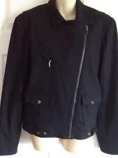 Ralph Lauren Black Wool Blend Motorcycle Jacket Size Large
