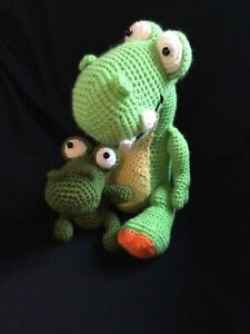 Hand Crafted Crochet T-Rex and Baby Dinosaur