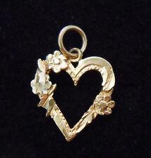 Estate Solid 10K Yellow Gold Flower Heart Pendant Charm Jewelry 10KT Not Scrap