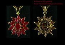 FASHION JEWELRY GEMS 14K YELLOW GOLD RED RUBY beauty PENDANT lady girl P401