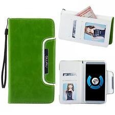 Handy Tasche Schutz hülle Wallet Case Flip Cover Etui für Sony Xperia Z3 grün