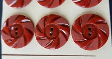 """Vintage Buttons - 6 Rust Red Casein 2-hole Carved 7/8"""" Wheel Buttons - France"""