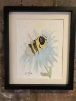 Bumble Bee Close Up, Original Watercolour Painting, Signed Art Not A Print, Gift