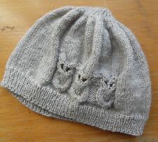bonnet beige 3 hiboux tricoté main 3d285542224