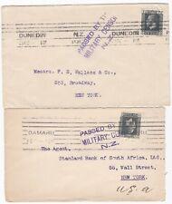 # 1916?/17 2 x WW1 NEW ZEALAND PASSED BY MILITARY CENSOR OAMARU & DUNEDIN TO USA
