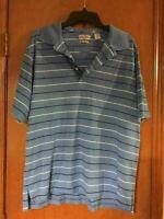 Men's Alan Flusser Blue Stripe Golf Polo Short Sleeve Shirt L Large Performance