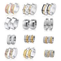 Unisex Stainless Steel Circle Earrings Studs CZ Crystal Gold/Silver Hoop Huggie