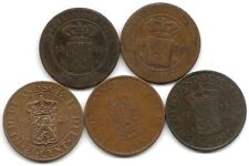 Netherlands East Indies Lot of 5 Different 2 1/2 Cents Coins 1858 - 1945