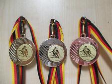 Ski Skifahren Slalom Pokal Kids Medaillen 3er Set mit Band/&Emblem Turnier e105
