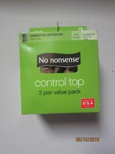 No Nonsense 3-Pair Pack Control Top Tan/Medium Sheer Toe Pantyhose SIZE PLUS