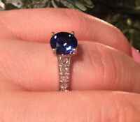 2Ct Round Cut Blue Diamond Solitaire Engagement Ring Solid 14K White Gold Finish