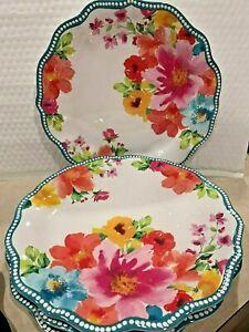 PIONEER WOMAN BREEZY BLOSSOMS DESIGN 10.5 DINNER PLATE MELAMINE BEAUTIFUL