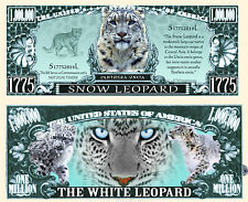 Snow Leopard Million Dollar Bill Collectible Fake Play Funny Money Novelty Note