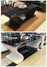 Designer Coffee Table Black Safety Glass Wooden White & Walnut Veneer