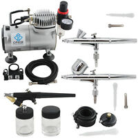 OPHIR 0.2mm 0.3mm 0.8mm 3-Airbrush Air Compressor Kit for Hobby Model Painting
