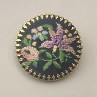 Unique vintage needlepoint flower brooch
