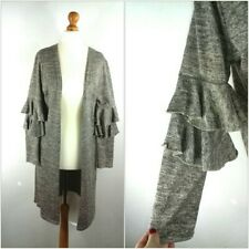 Long Marl Fine Knit Winter Cardigan With Frilly Sleeves Open Front Size 12