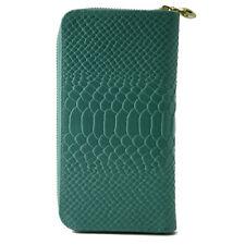 Porte-monnaie pour Femmes en Cuir Véritable Façon Python - Fosca Turquoise