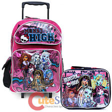 "Monster High 16"" Large School Roller Backpack with Lunch Bag 2pc Set- Glitter"