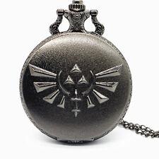 Reloj de bolsillo nuevo Legend of Zelda Trifuerza Cuarzo lleno cazador cadena Jugador Juegos