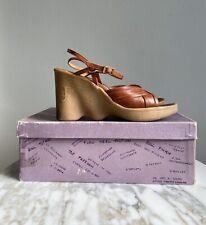 Vtg 70s Hi-Up There Famolare High Heel Wedge Sandals 6M Italy-Og Box+Sticker
