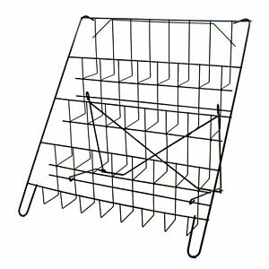 Card Rack Display Stand in Black  - 4 Tier Wire Book Magazine Counter (E8B)