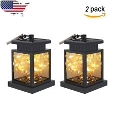 2x Solar Powered Led Lantern Hanging Light Outdoor String Lamp Yard Garden Decor