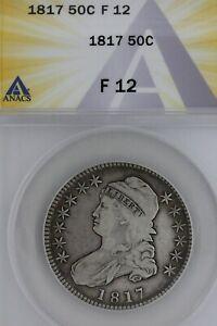 1817   50C  F 12   ANACS  --   Capped Bust Half Dollar, Miss Liberty