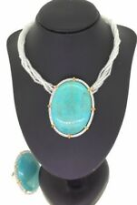 Pendant Necklace Ring Turquoise Precious Stone Crystals Citrine Silver Set