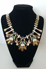 Necklace Goldtone metal with Glass and Acrylic Stones