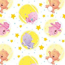 Fabric Baby Bears in Circles Swinging on Moon on White Flannel by the 1/4 yard