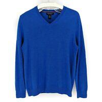 Banana Republic Men's Blue V-Neck Extra Fine Merino Wool Sweater Size: Medium