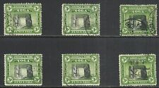 TONGA SCOTT 77 USED VF x 6 - 1942 3p GREEN & BLACK ISSUE  CAT $25.50