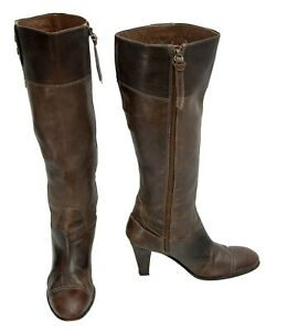 Hugo Boss Brown Genuine Leather Women's Knee Boots Size 36